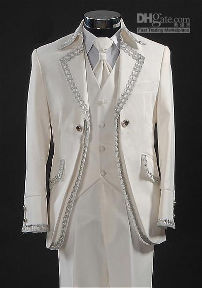 Hoge kwaliteit Heren bruidegom pakken vier stukken smoking pak + broek + vest + stropdas