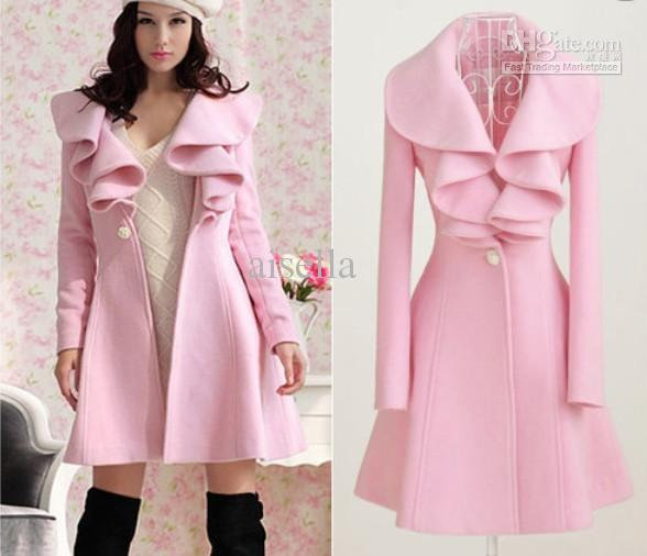 2018 Winter Outerwear Coat Women Pink Long Trench Coat Wool Blend ...