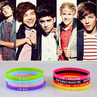 Wholesale 1d Wristbands Wholesale - 48pcs lot 5mm HOT 1D I Love One Direction Silicone Wristband Bracelet Mix 8 Design Bracelets