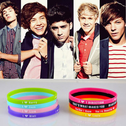 48 unids / lote 5 mm HOT 1D I Love One Direction pulsera pulsera de silicona Mix 8 diseño pulseras