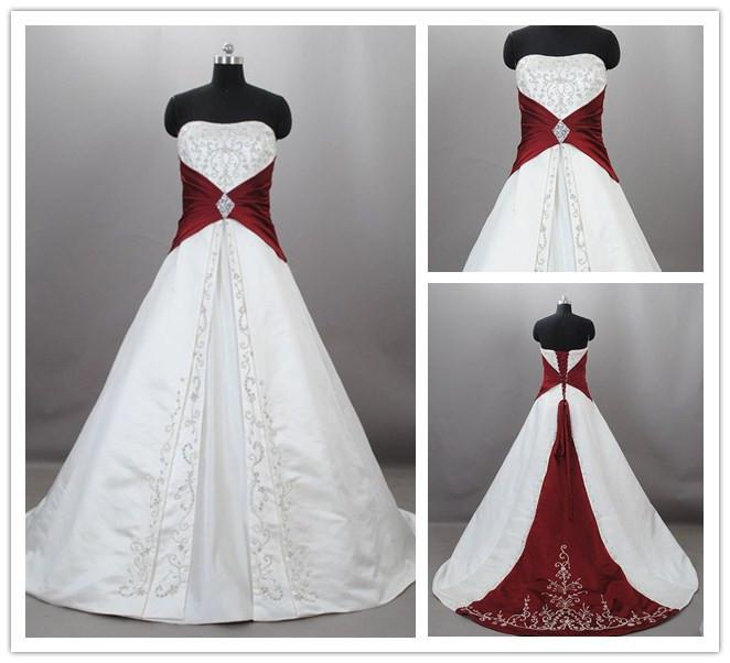 Discount Custom 2015 Burgundy And White Wedding Dresses Vintage ...
