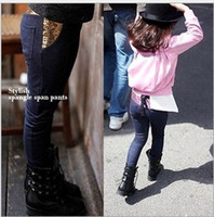 Wholesale Winter Leggings Jean - Girl's sequins cowboy backing pants girl's trousers pant jean pant