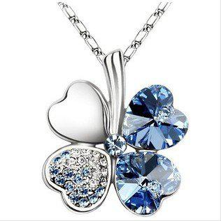 New arrival ! luck Crystal four leaves Pendant necklace Fashion women .24pcs/lot