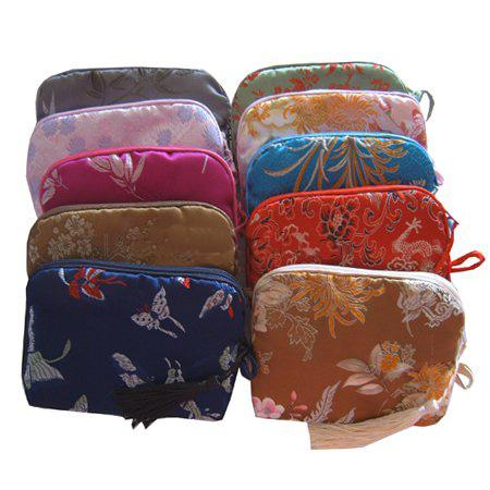 Tania Bawełna Wypełniona Małe Kosmetyczne Makijaż Torby Kobiet Jedwabne Tkaniny Tassel Zipper Prezent Pakowanie Wouch 10 sztuk / partia Mix Color