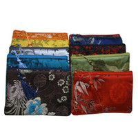 Wholesale Chinese Small Party Gifts - Cotton filled Thicken Small Zipper Bags For Gift Tassel Chinese Silk Brocade Fabric Purse for Phone Storage Bag Women Wallet 16 x 12