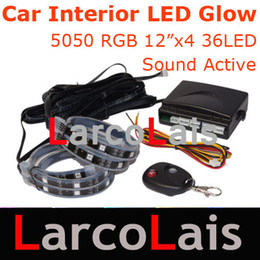 "Wholesale Led Color Interior Lights - Wireless Remote 24 Mode 4x 30cm 4x12"" 7 Color RGB 5050 Car Interior LED Glow Strip Light Wateproof"