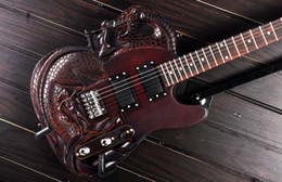 Wholesale Dragon Guitars - 2015 The Best TL Carved Dragon Slayer Style Electric Guitar With Mahogany Body Rosewood Fingerboard 22 Fret