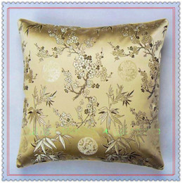 Wholesale Black Silk Pillows - Elegant Smooth Bamboo Pillow Case 17 inch 20 inch 24 inch Yellow Double-sided Pattern 100% Silk Brocade High quality Backrest Cushion Cover