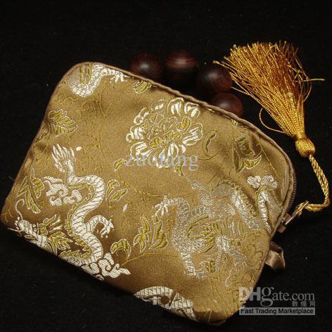 Billiga Bomull Fyllda Små Kosmetiska Makeup Väskor Kvinnor Silk Fabric Tassel Zipper Presentförpackning Påsar 10st / Mix Color