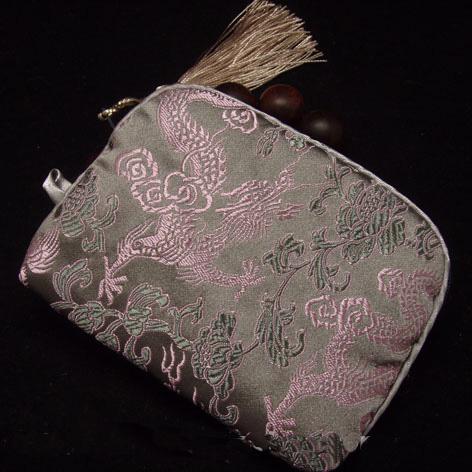 Sacchetto piccolo di trucco del fiore della chiusura lampo floreale del cotone riempito di seta Sacchetto di imballaggio del regalo della borsa della macchina fotografica della tasca del broccato della nappa di seta all'ingrosso