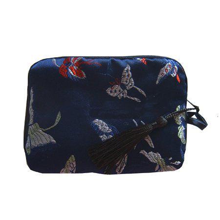 Goedkope katoen gevulde kleine cosmetische make-up tassen vrouwen zijde stof kwast rits gift verpakking pouches / mix kleur