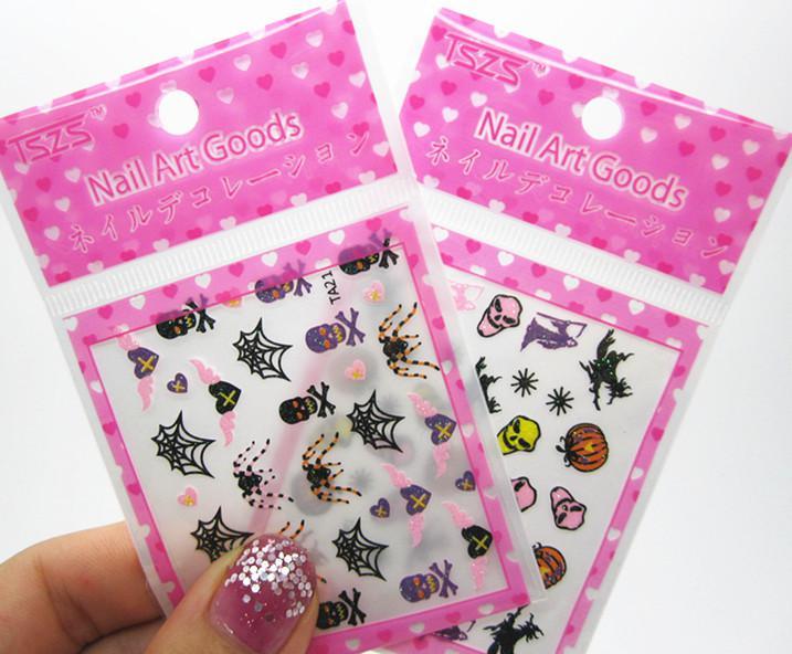 halloween 3d nail art sticker designs nail decals uk wrap decoration discount skull snowflake online