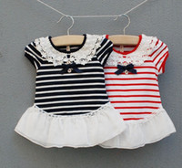 Wholesale Red Stripes Lace Skirt - Kids Crochet Collar Dresses Cotton Stripe Double Skirts Baby Clothing