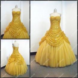 Wholesale Quinceanera Ball Gowns Sale - Sequnis Yellow Ball Gown Quinceanera Gown Strapless Zipper Floor-Length Ruffles 2013 Hot Sale Dress