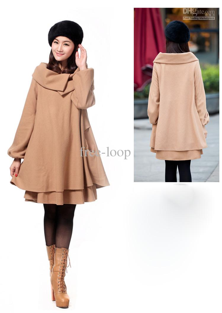 2019 Womens Coats Plus Size Clothing Casual Wool Coat Ponchos Outerwear  Winter Woollen Coats 865 From Free Loop, $33.23   DHgate.Com