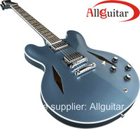 musical china venda por atacado-Custom Shop Guitar Dave Grohl 335 JAZZ Metal azul Musical guitarra elétrica China Guitarra