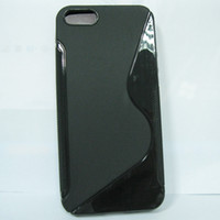 Wholesale Iphone5 S - S Line crystal clear jelly Soft TPU Gel Case skin back cover For iPhone 5 iPhone5 free shipping