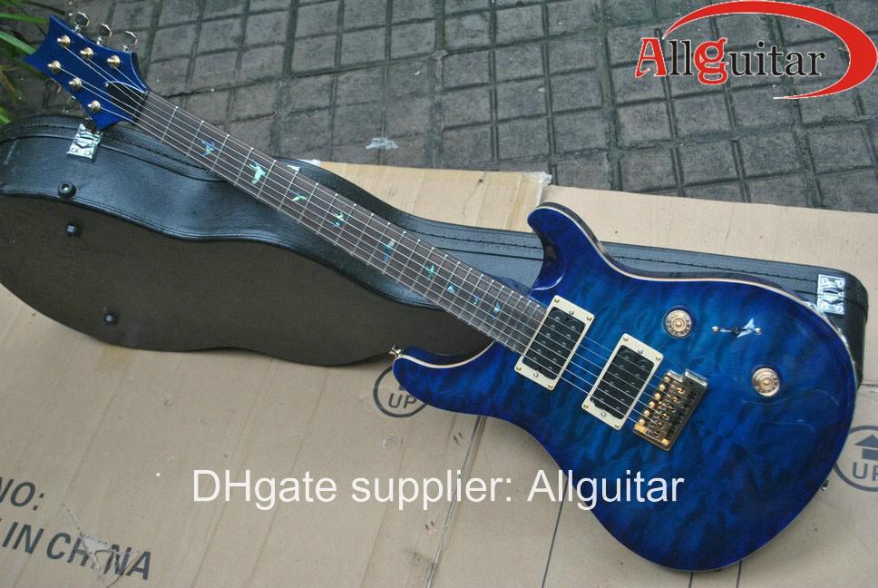 Aangepaste 24 handtekening blauwe burst elektrische gitaar china gitaar nieuwe stijl