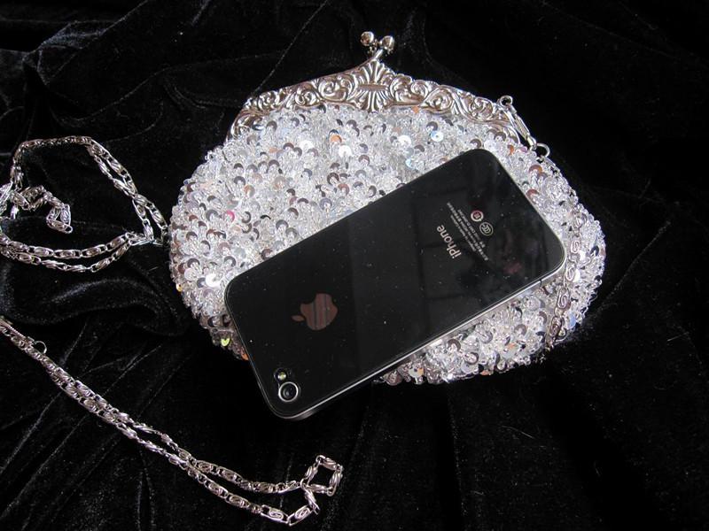 Gratis frakt 2020 Crystal Sequin Beaded med lång och kort sträng Bröllopskoppling Bridal handväska brudtärna handväska