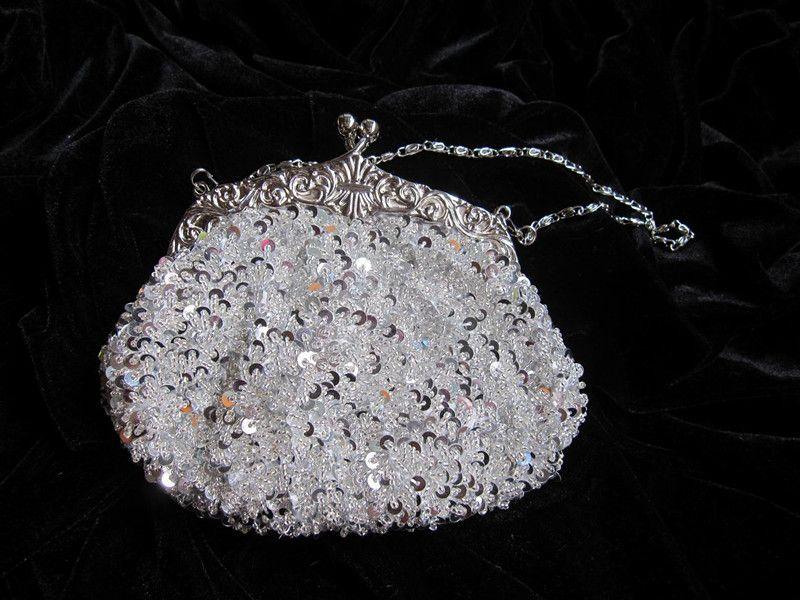 2015 Crystal Sequin Beaded with Long and Short String Wedding Clutch Bridal Handbag Bridesmaid Purse