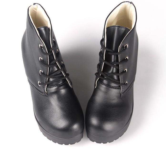 Lokomotiv Stövlar Martin Stövlar Plattform Skor Korta Stövlar Kvinnor Chunky Heel Ankel Boots Knight Boots