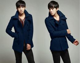 Wholesale Slim Large Lapel Coat - Autumn and winter men's woolen coat Korean wind Slim Men's double-breasted large lapel coat 1pcs