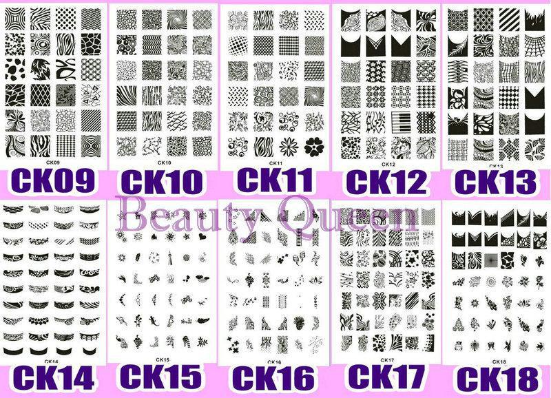 Büyük tasarım !! XL Tırnak Damgalama Plakası Damga 328 Tasarımlar CK09 - CK18 Görüntü Stencil Baskı Şablonu