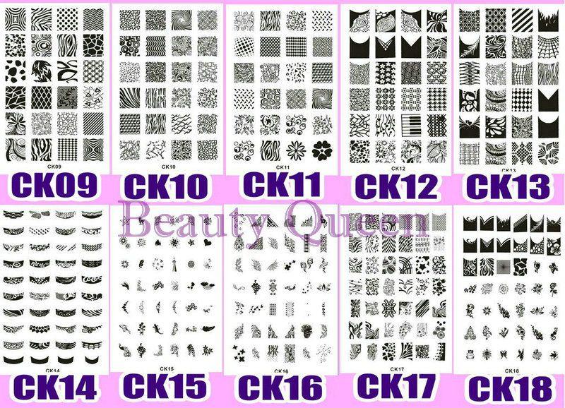 큰 디자인 !! XL 네일 스탬핑 플레이트 스탬프 328 디자인 CK09-CK18 이미지 스텐실 인쇄 템플릿