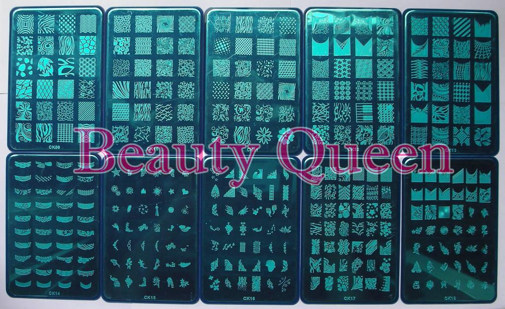Stor design !! XL Nail Stamping Plate Stamp 328 Designs CK09 - CK18 Bild Stencil Print Mall