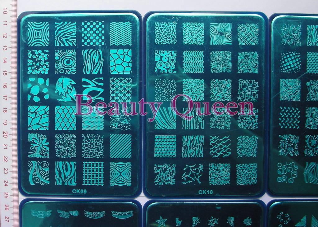 Gran diseño !! Sello de placa de estampado de uñas XL 328 diseños CK09 - CK18 Plantilla de impresión de plantilla de imagen