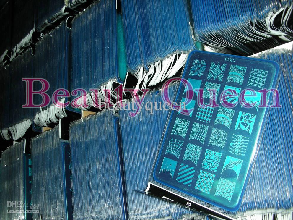 NEUESTE! 328 BIG Designs XL-Stempel, der Bild-Platten Französisch Nail Art Schablone Vorlage CK09-18 Drucken