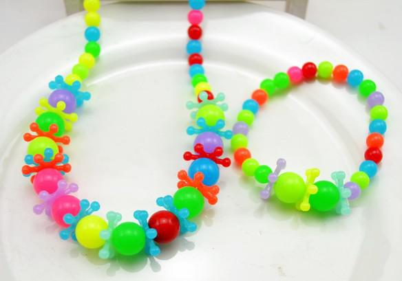 children / kid jewelry set handmade necklace Bead Bracelet candy-colored beads snowflake necklace