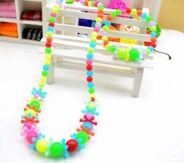 Wholesale Colored Snowflakes - children   kid jewelry set handmade necklace Bead Bracelet candy-colored beads snowflake necklace