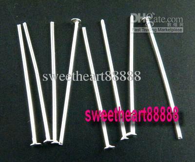 Broches lisses de tête plaquées argent Aiguilles 80mm MIC Vente chaude / Résultats de bijoux Composants DIY