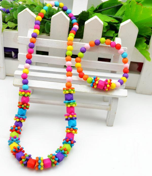 дети ребенок безделушка комплект ювелирных изделий ручной работы ожерелье из бисера браслет цвет квадратной формы ожерелье
