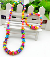 kinder perlenformen großhandel-Kinder Kind Bauble Schmuck Set handgemachte Halskette Bead Armband Farbe Quadrat-förmige Halskette