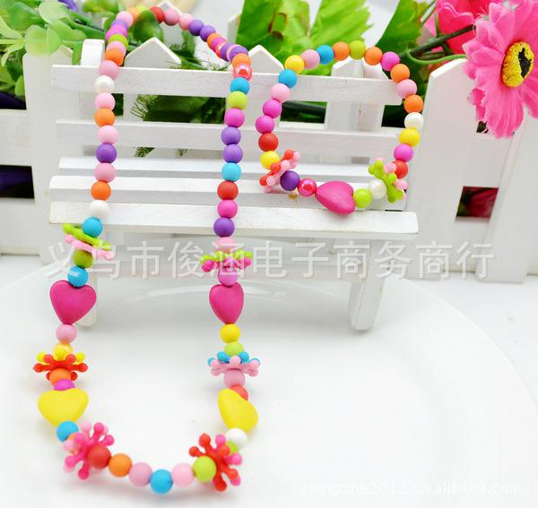 children kid Bauble jewelry set handmade necklace Bead Bracelet The color bead heart shaped necklace