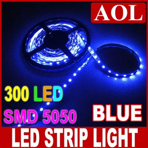 Caldo 5m 5050 SMD 300 LED striscia flessibile non-impermeabile Illuminazione di striscia LED nastro azzurro per auto illuminazione casa della barra