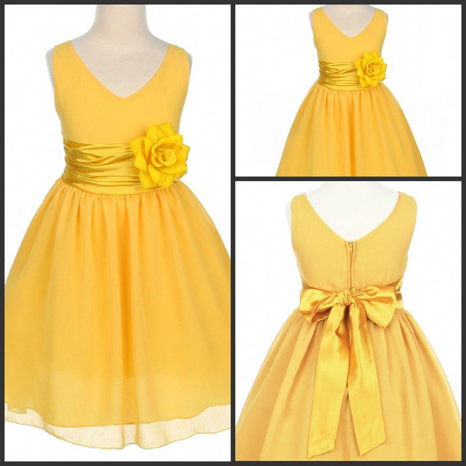 Eye Catching Yellow Chiffon Flower Girl Gowns V Neck Princess A ...