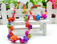 Wholesale Plastic Rose Beads - children Bauble jewelry set handmade necklace Bead Bracelet Bead rose flower necklace