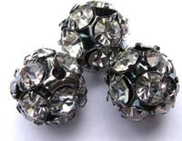 Wholesale Brass Filigree Beads - gunmetal spacer 100pcs 4-14mm Bling Pave Crystal Brass Filigree Beads Spacer Round Metal Spacer Beads Lightweight Beads