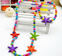 ensembles de bijoux colorés achat en gros de-enfants kid bijoux ensemble de bijoux fait main collier de perles collier de couleurs étoiles de mer étoiles collier
