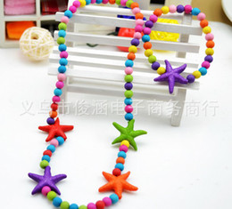 Wholesale Kids Bauble Necklaces - children kid Bauble jewelry set handmade necklace Bead Bracelet Colored starfish necklace jewelry