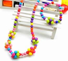 Wholesale Pendant Sets NZ - children kid Bauble jewelry set handmade necklace Bead Bracelet Bead flower necklace jewelry