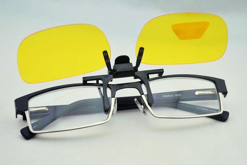 Yellow Polarized Clip On Sunglasses Glasses Flip Up