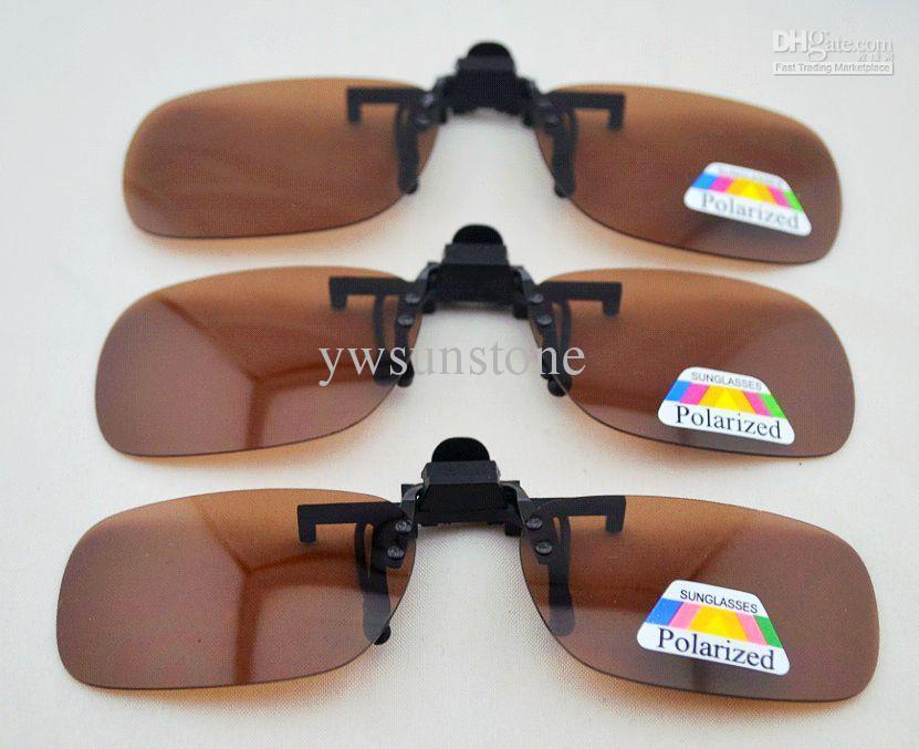 a1677ae40c Brown Polarized Clip On Flip Up Plastic Sunglasses