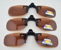 Wholesale clip drivers - Brown Polarized Clip on Flip up Plastic Sunglasses, day vision clip up driver sunglasses