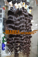 comprar 22 pulgadas de pelo brasileño al por mayor-Deep Wave Bundles Armadura de cabello virgen brasileña Extensiones de cabello humano rizado profundo