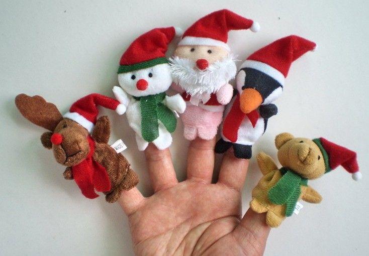 50pcs / lot 6g plüsch familie fingerpuppen wolle tragen spielzeug fingerpuppe weihnachtsgeschenke baby puppe frei s