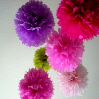 """Wholesale Chinese Paper Balls - Free Sipping Colorful Tissue Paper Flower ball Tissue Paper Pom Poms 14"""" Wedding Birthday Party Decoration Accessory"""